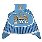 Manchester City FC Official Bullseye Reversible Duvet Cover Bedding Set (Single and Double) (Twin Bed) (Sky Blue)