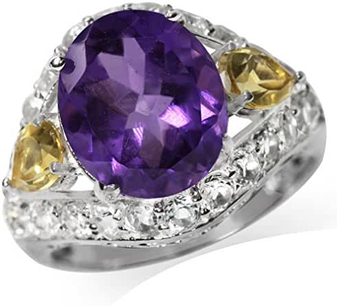 Natural African Amethyst, Citrine & Topaz White Gold Plated 925 Sterling Silver Cocktail Ring