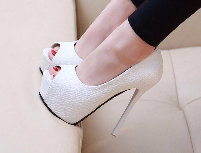 GTVERNH Zapatos de Mujer/Sexy Noche De Tienda De Boca De Pescado Tacon Delgado Impermeable 14Cn Tacon Alto Fino Ocupación Zapatos Zapatos Poner El Pie.Treinta Y Cuatro Blanco Thirty-four|white