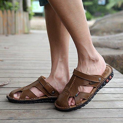 Lederne XIAOQI handgenähte Männer Strand Schuhe Lederne benutzen der Doppelt Schuhe Beige Wildleder Sandelholze Neuen Flut Weiche Koreanische SqxdpHw