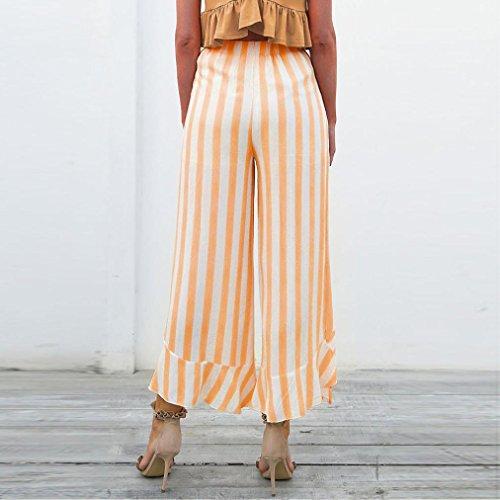 2018 Palazzo Pants,Women Stripe Ruffle Bottom Sash High Waist Wide Leg Beach Trousers by-NEWONSUN by NEWONESUN-Pant (Image #4)