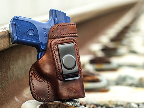 OutBags USA LS2SRC (BROWN-RIGHT) Full Grain Heavy Leather IWB Conceal Carry Gun Holster for Ruger SR9c 9mm & SR40c .40S&W. Handcrafted in USA.