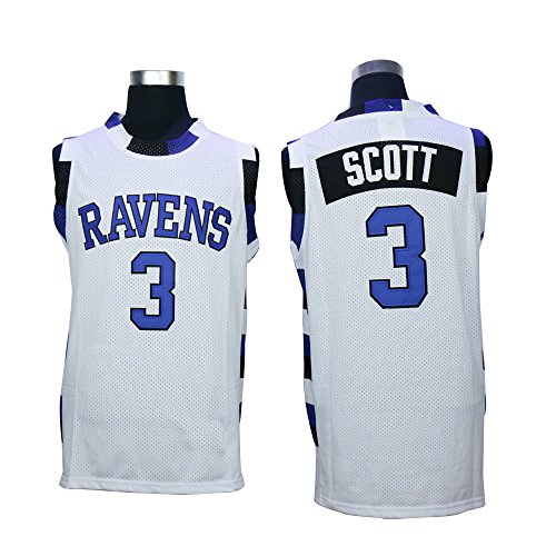 Stitched Lucas Scott 3 One Tree Hill Ravens Basketball White Jersey (2X-Large)