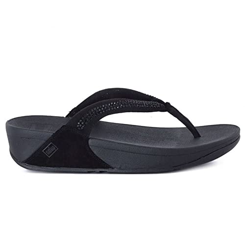 a61a2a411 fitflop Womens Crystal Swirl Black Suede Sandals 6 US  Amazon.ca ...
