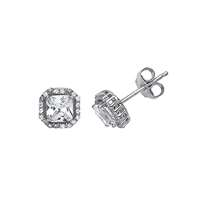 Jewelco London Rhodium Plated Sterling Silver Princess Cut Cubic Zirconia Halo Stud Earrings eP9WWUK