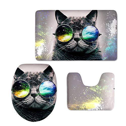 Non Slip Absorbent Water Bathroom Rug Toilet Sets, Washable Absorbent Modern Bath Mat,Beach,Fashion Glasses Cat Bathroom Carpet Rug,Non-Slip 3 Piece Bathroom Mat Set ()