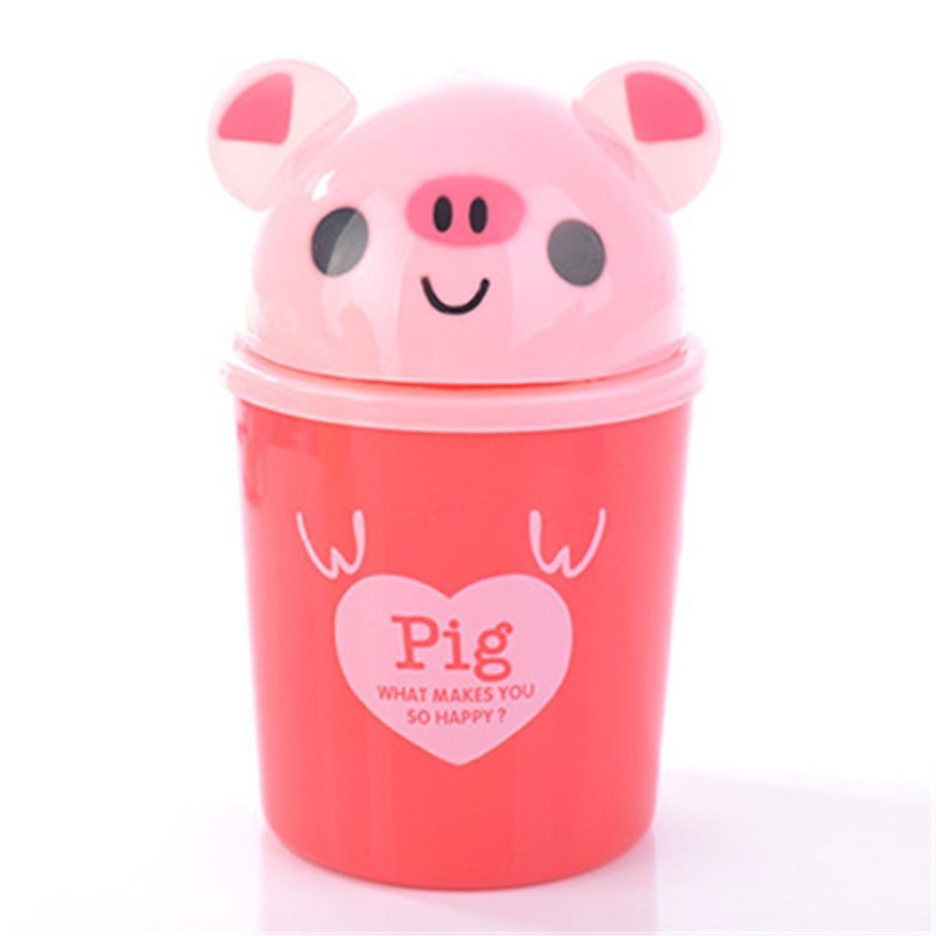 Desktop Trash Can with Lid Roll Cover Mini Wastebasket 1.5L Desktop Trash Can Cute Animal (Pink)