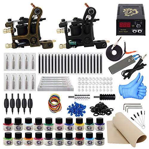 ITATOO Complete Tattoo Kit for Beginners Tattoo Power Supply Kit 20 Tattoo Inks 50 Tattoo Needles 2 Pro Tattoo Machine Kit Tattoo Gun Kit TK1000013 (Tattoo Starter Kit For Beginners)