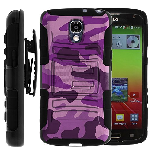 LG Volt Case, LG Volt Holster, Two Layer Hybrid Armor Hard Cover with Built in Kickstand and Unique Graphic Images for LG Volt F90, LS740 (Sprint, Boost Mobile, Virigin Mobile) from MINITURTLE | Includes Screen Protector - Purple Camouflage