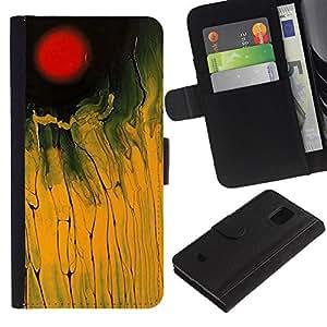 Planetar® Modelo colorido cuero carpeta tirón caso cubierta piel Holster Funda protección Para Samsung Galaxy S5 Mini / SM-G800 (Not For S5!!!) ( Red Yellow Field Black Abstract Painting )