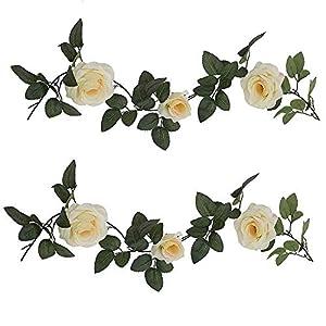 LYLYFAN Fake Rose Vine,2 Pcs Artificial Flower Hanging Rose Ivy Home Garden Party Wedding Decor 13.2 FT 83