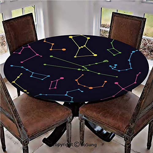 Elastic Edged Polyester Fitted Table Cover,Colorful Astronomic Illustration Science Ursa Major Minor Polaris Celestial,Fits up to 36