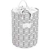 23.6' Large Foldable Laundry Basket Collapsible Clothes Hamper Drawstring Waterproof Laundry Hamper Round Cotton Linen Storage Baskets Home Organizer(Black and White Grids)