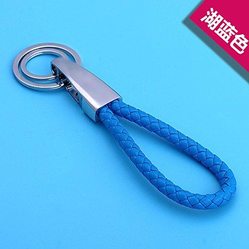 Key Chain bijiben_ Hand-woven key fob pendant creative romantic birthday gifts,Lake blue by Key Chain