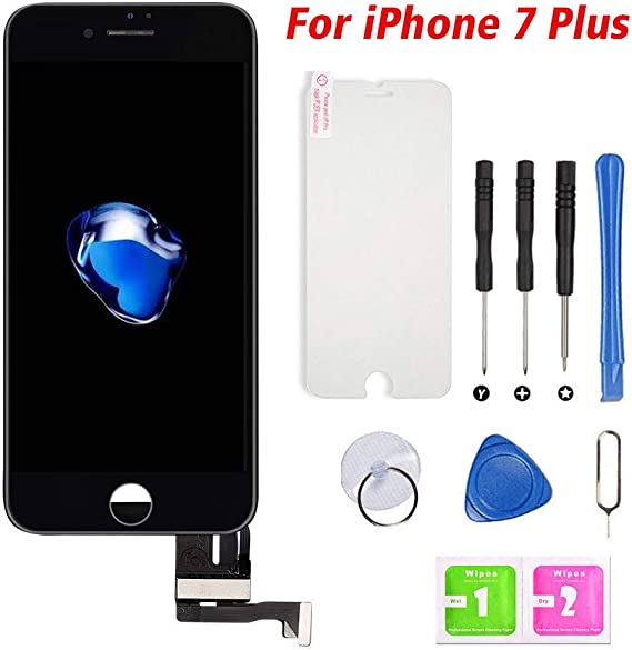 Ayake for iPhone 8 Plus Screen Replacement with Home Button Black A1897 A1898 Full Assembly Retina LCD Touch Display Digitizer with Front Camera+Earpiece Speaker+Proximity Sensor+Tools for A1864