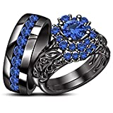 TVS-JEWELS Wedding Ring Set His And Her Black Rhodium Plated 925 Sterling Silver Round Cut Gemstone (Blue Sapphire)
