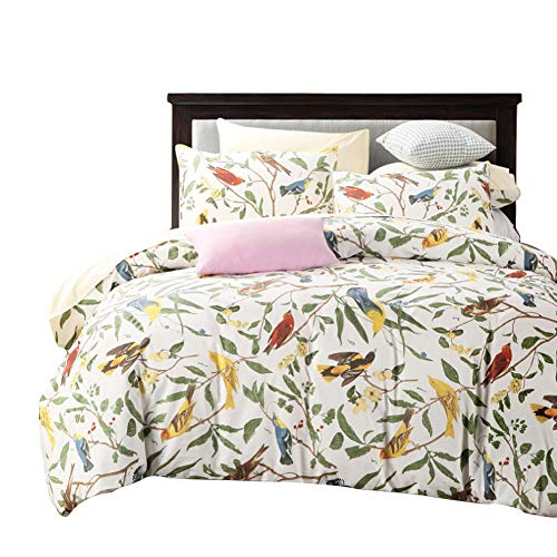 - SexyTown Floral Bird Print Duvet Quilt Cover 3 Piece Egyptian Cotton Bedding Set King Pattern O