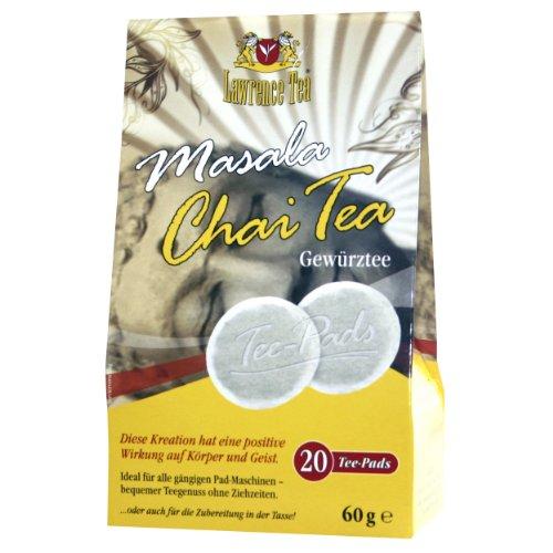 Lawrence Tea Masala Chai Tea, Gewürztee, für Senseo Padmaschine, 20 Teepads