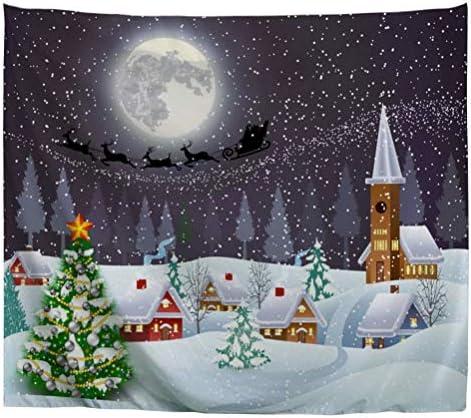 Izielad Cartoon Christmas Tree Huts Snow Moon Home Wall Hanging Tapestry Art Fabric for Dorm Room Bedroom Decorations 180x230cm 71 x90