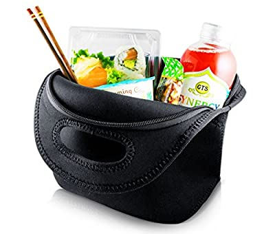 "The Little Black Neoprene Lunch Bag / Reusable Tote for Men, Women and Kids by Paper & Zen|Insulated, Eco-Friendly Lunch Box Purse for Work, School, Picnics | Foldable and Washable | 12"" x 11.5"" x 4"
