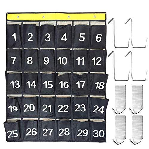 AFUNTA 30 bolsillos numerados Soporte para la calculadora aula y bolsillos para teléfonos móviles Organizador gráfico...