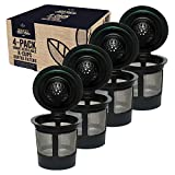 Reusable K Cups For Keurig 2.0 & 1.0 Brewers Universal Fit For Easy To Use Refillable Single Cup Coffee Filters - Eco Friendly Stainless Steel Mesh Filter (Pack of 4)