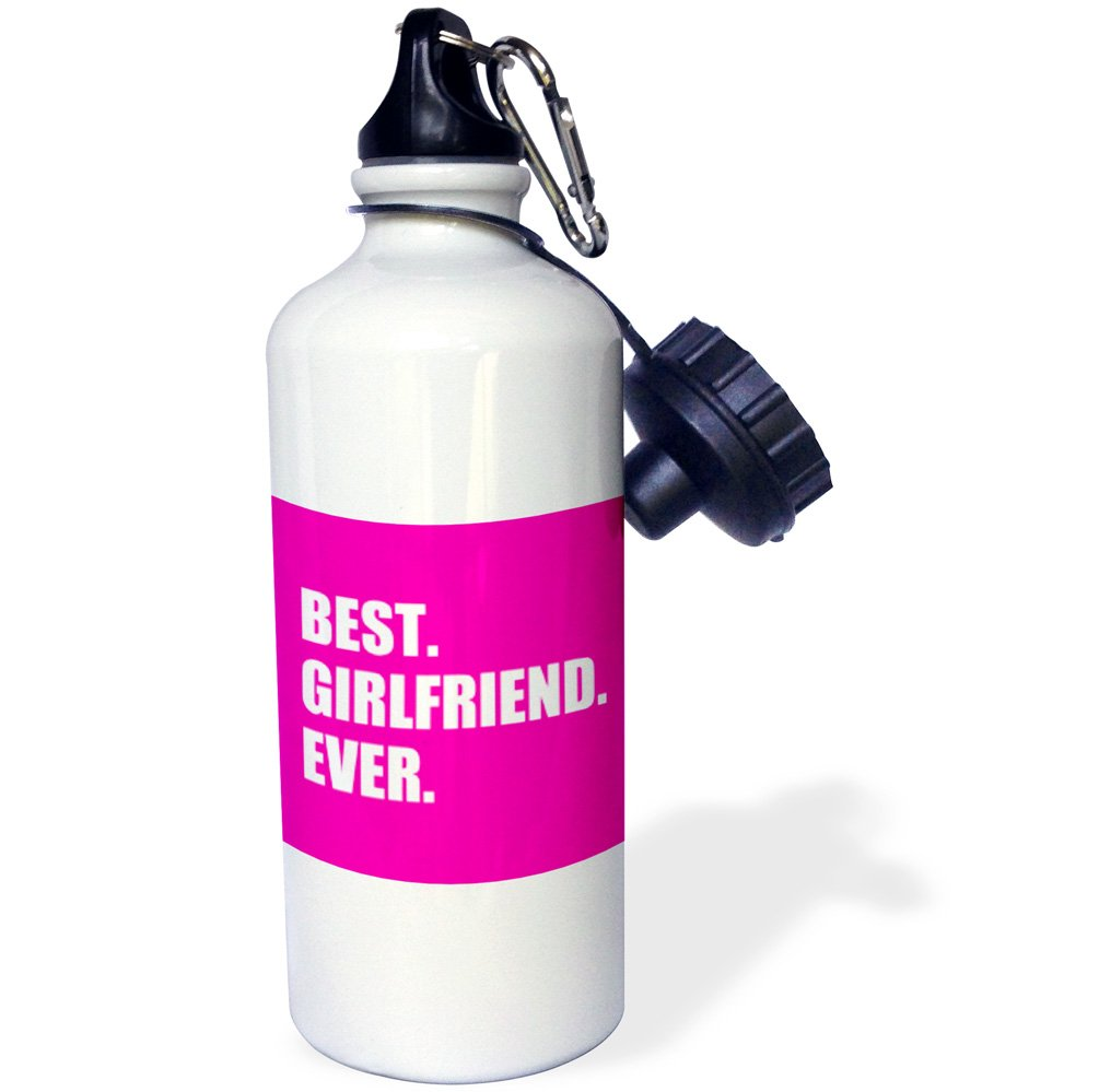Sports Water Bottle 3dRose wb/_179718/_1 Best Girlfriend Ever text on hot pink anniversary valentines day gift 21oz