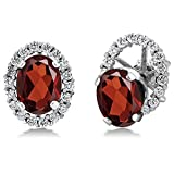 3.32 Ct Oval Red Garnet 925 Sterling Silver Stud Earrings with Jackets