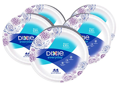 Dixie Everyday Paper Plates, 10 1/16 Inches, 44 Count (Pack of 5) Designs may vary