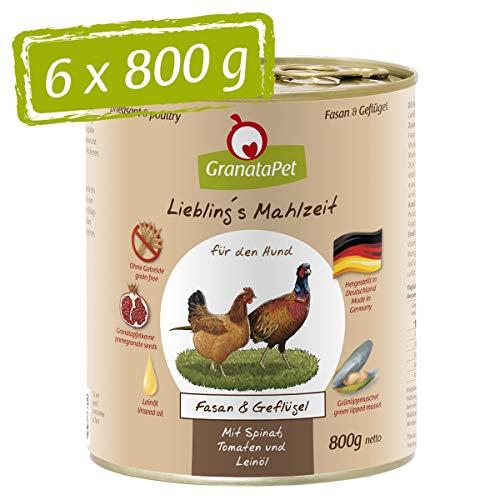 GranataPet Liebling's Mahlzeit Fasan & Geflügel, Nassfutter für Hunde, Hundefutter ohne Getreide & ohne Zuckerzusätze…