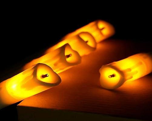 LED Flameless Candle 24PCS Pillar Fiber Optic Wick Drop Tear Yellow Flash for Seasonal Celebration Christmas Halloween Party Wedding Surprise Gift Room Outdoor Garden Church Decor Long