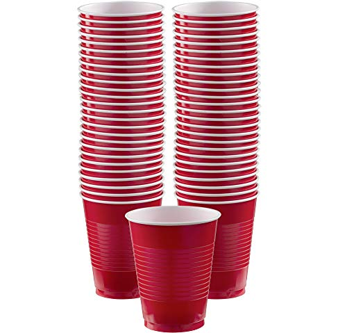 Apple Red Plastic Cups Big Party Pack, 16 Oz., 50 Ct. -