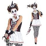 Womens Red And Black Evil Harlequin Clown Jester Joker Costume,Med 6 - 8 US,Black