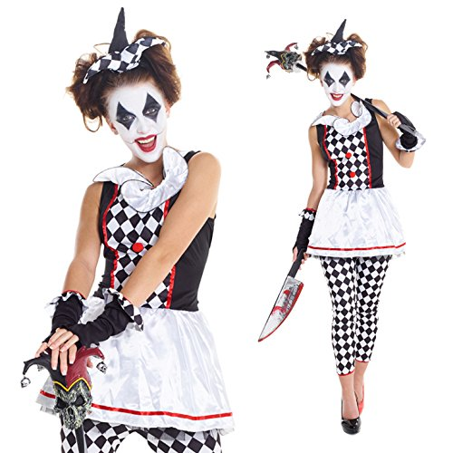 Womens Red And Black Evil Harlequin Clown Jester Joker Costume,XL 10 - 12 US,Black (Women Scary Costume)