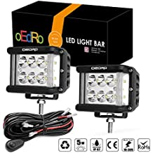 oEdRo 2PCS 4 Inch 60W Square LED Cubes Full Reflector Work Lights OffRoad Driving Light Lamps Spot Flood Combo for Jeep Truck ATV SUV Boat 4WD Motorcycle with 2 Leads Wiring Harness, 3 Years Warranty