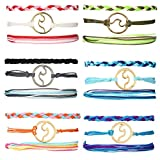 WAINIS 18 Pieces Wave Strand Bracelet Set Handmade Braided Rope Bracelet for Women Girls, Adjustable Waterproof Multicolor Surfer String Bracelet Handcrafted Jewelry