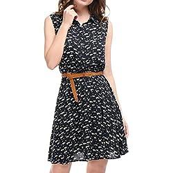 Allegra K Women's Cat Print Button Down Upper Shirt Mini Dress w Belt S Dark Blue