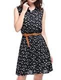 Allegra K Women's Dark Blue Cat Pattern Button Closure Shirt Dress w Belt S