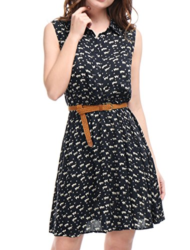 Allegra-K-Womens-Printed-Half-Placket-Above-Knee-Sleeveless-Belted-Dress