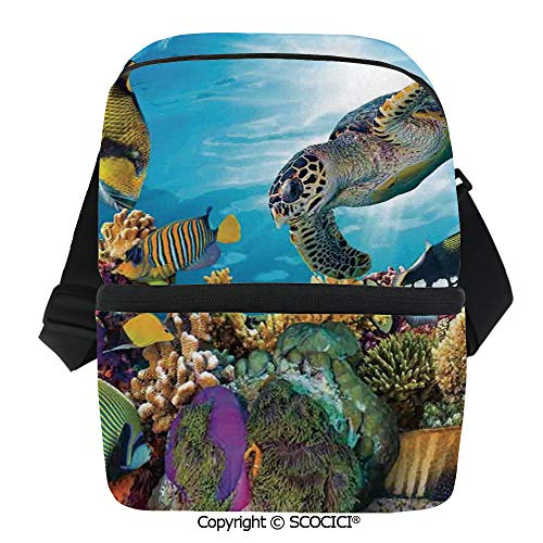 SCOCICI Reusable Insulated Grocery Bags Colorful Fishes Hawksbill Floats Under Water Coral Reefs Aquatic Environment Theme Thermal Cooler Waterproof Zipper Closure Keeps Food Hot Or Cold ()