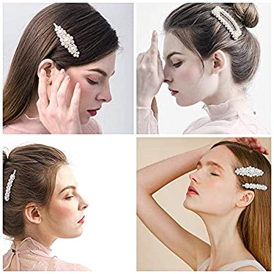 Delokey 14 Pieces Elegant Pearl Hair Clips Barrettes - Fashion Sweet White Pearl Jewelry Flower Hairpins,Hair Accessory for Girl Women Birthday Gifts Wedding Bridal Bridesmaid Ornaments