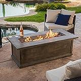 Cheap Great Deal Furniture Pablo 56″ Brown Rectangular Liquid Propane Fire Table
