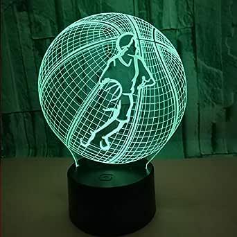 BFMBCHDJ Baloncesto creativo Luz 3D colorida Luz táctil colorida ...