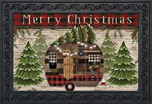Briarwood Lane Merry Christmas Camper Primitive Doormat Fir Trees Indoor Outdoor