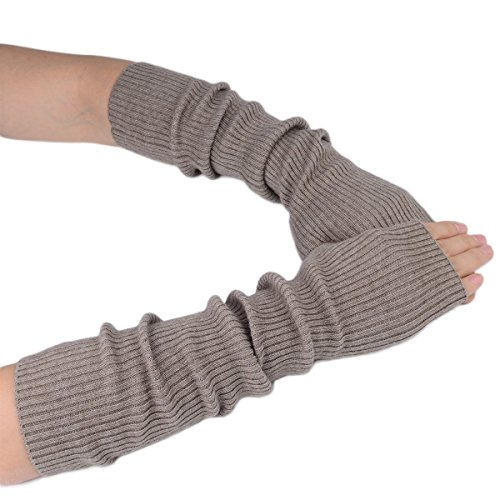 Flammi Women Knit Fingerless Gloves Mittens Arm Warmers Cashmere Thumb Hole Long Gloves (Camel) (Cashmere Long Jacket)