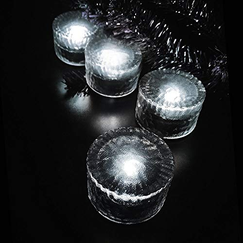 DINOWIN Solar Ice Lights, Glass Ice Lights Solar Brick LED Frosted Glass PathLights Waterproof for Garden Courtyard Pathway Outdoor Decoration 4-Pack