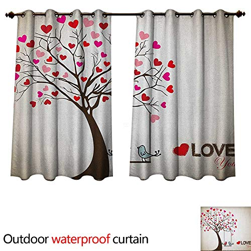 Anshesix Love Outdoor Ultraviolet Protective Curtains Heart Leaves on Tree with Birds in Love on a Swing Cute Cartoon for Valentines Day W96 x L72(245cm x 183cm) ()