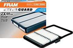 FRAM Extra Guard Air Filters are engineered with an advanced filter media that has been through rigorous testing and have been proven to provide 2X the engine protection* than the average leading standard retail brand air filter. 12,000 miles...