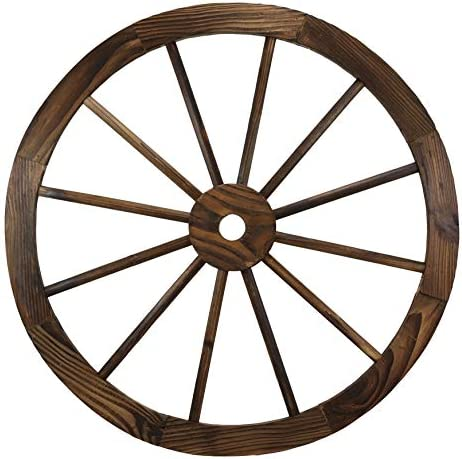 Ebros Gift Oversized 24.5″ Wide Vintage Rustic Round Wood Cartwheel Wagon Wheel Wall Decor 3D Art Decorative Hanging Plaque Western Country Ranch Old World Transportation Mode Home Accent Sculpture