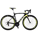 Cheap SAVADECK HERD 6.0 T800 Carbon Fiber 700C Road Bike SHIMANO 105 5800 Groupset 22 Speed Carbon Wheelset Seatpost Fork Ultra-light 18.3 lbs Bicycle Black Yellow 52cm